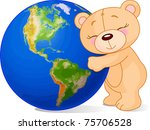 Teddy Bear Hugging The Earth