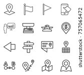 thin line icon set   pointer ... | Shutterstock .eps vector #757065472
