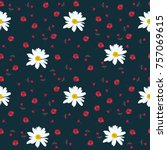 seamless floral pattern with... | Shutterstock .eps vector #757069615
