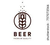 beer line art label. brewery... | Shutterstock .eps vector #757073566