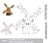 funny windmill. dot to dot... | Shutterstock .eps vector #757075642