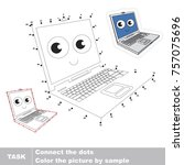 funny laptop. dot to dot... | Shutterstock .eps vector #757075696