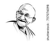 mahatma gandhi laughing.gandhi... | Shutterstock .eps vector #757076098