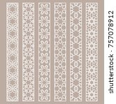 vector set of line borders with ... | Shutterstock .eps vector #757078912