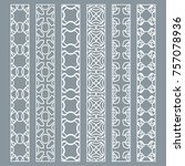 vector set of line borders with ... | Shutterstock .eps vector #757078936