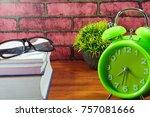 books  desk clock  glasses and... | Shutterstock . vector #757081666