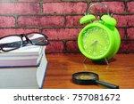 books  desk clock  glasses and... | Shutterstock . vector #757081672