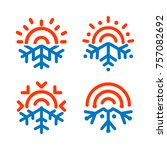 sun and snowflake emblems.... | Shutterstock .eps vector #757082692