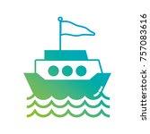 silhouette ship transportation... | Shutterstock .eps vector #757083616