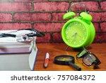 books  desk clock  stethoscope... | Shutterstock . vector #757084372