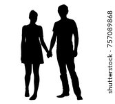 realistic silhouette of young... | Shutterstock .eps vector #757089868