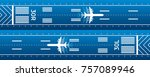 aircraft on the runway.... | Shutterstock .eps vector #757089946