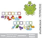 Educational puzzle game for kids. Find the hidden onomatopoeia word Ribbit-ribbit, the frog voice