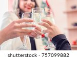 hands holding the glasses of... | Shutterstock . vector #757099882