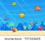 family of funny fish under the... | Shutterstock .eps vector #757103605