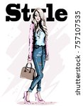 fashion model posing. stylish... | Shutterstock .eps vector #757107535