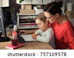 creative little girl writing on ...   Shutterstock . vector #757109578