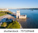 magical aerial panoramic sunset ... | Shutterstock . vector #757109668