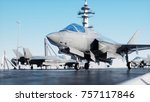 jet f35  fighter on aircraft... | Shutterstock . vector #757117846