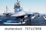 jet f16  fighter on aircraft... | Shutterstock . vector #757117858