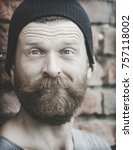 portrait of a man on a brick... | Shutterstock . vector #757118002