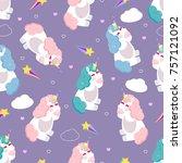 cartoon seamless pattern.... | Shutterstock .eps vector #757121092