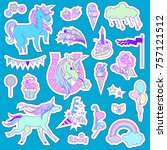 unicorn multicolor stickers... | Shutterstock .eps vector #757121512