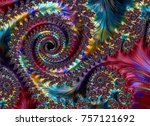 abstract fractal art background ... | Shutterstock . vector #757121692