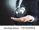 businessman holding global... | Shutterstock . vector #757129945