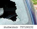 broken rear windshield glass on ... | Shutterstock . vector #757130152