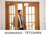 successful businessman entering ... | Shutterstock . vector #757134496