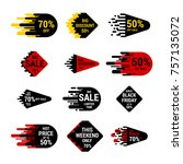 sale sticker set with hand...   Shutterstock .eps vector #757135072