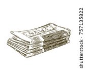 stack of newspapers. vintage... | Shutterstock .eps vector #757135822