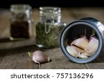 garlic in woods and spices on a ... | Shutterstock . vector #757136296