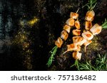 grill  barbecue meat. chicken... | Shutterstock . vector #757136482