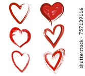 set of hand drawn red hearts... | Shutterstock .eps vector #757139116