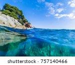seascape at costa brava ... | Shutterstock . vector #757140466