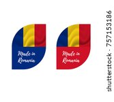 stickers made in romania.... | Shutterstock .eps vector #757153186