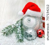 christmas background with snow  ... | Shutterstock . vector #757154212
