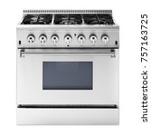 single gas range cooker with... | Shutterstock . vector #757163725