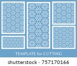 decorative panels set for laser ... | Shutterstock .eps vector #757170166