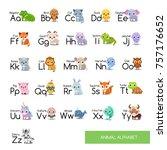 animal alphabet set | Shutterstock .eps vector #757176652