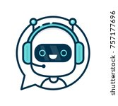 cute smiling funny robot chat... | Shutterstock .eps vector #757177696