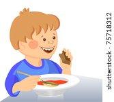 vector cute boy eats with a... | Shutterstock .eps vector #75718312