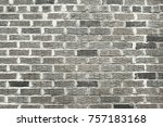 old grey brick wall background... | Shutterstock . vector #757183168