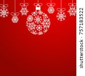 red snowflake ornament holidays ... | Shutterstock .eps vector #757183522