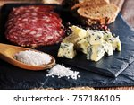 roquefort cheese slices with... | Shutterstock . vector #757186105