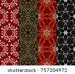 set of modern line art seamless ...   Shutterstock .eps vector #757204972
