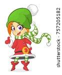 happy cartoon smiling blonde...   Shutterstock .eps vector #757205182