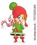 cute santa helper girl shows on ... | Shutterstock .eps vector #757205185